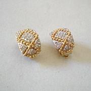 Flashy Pair Vintage Piscitelli Rhinestone Earrings