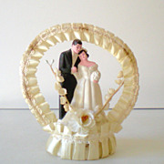 Sweet Vintage Wedding Cake Topper Bride and Groom