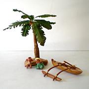 SOLD Hawaiian Village (2) Dolls palm Tree Outrigger Canoe