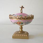SALE Gorgeous Lidded  Victorian Powder Box w/ Cherub