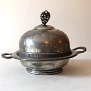 Vintage Pairpoint Silver Plated Lidded Butter Dish
