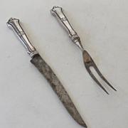 SALE Vintage Sterling Silver Fork & Knife Carving Set