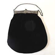 SALE Lovely Victorian Black Velvet Hand Bag Purse