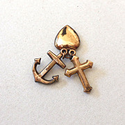 (3) Sweetheart Charms Heart Anchor and Cross