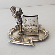 SALE Antique Silver Plated Matches Holder With Cherub 1909