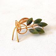 Lovely Gold Tone Flower Brooch Faux Jade Petals