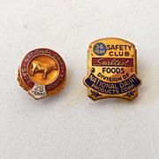 SALE (2) Vintage Dairy Workers Award Pins One is 14K