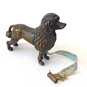 SALE RARE Antique Brass Figural French Poodle Tape Measure