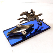 SALE Fabulous Art Deco Metal Race Horse Ashtray