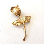 Lovely Vintage Gold Tone Rose Bud Pin Brooch