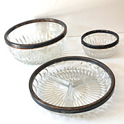 SALE (3) Vintage Cut Glass Bowls with Silver Plated Rims