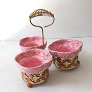 Pink Mid Century Modern 4 Piece Pottery Center Piece