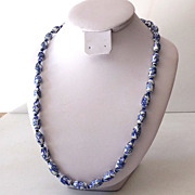 Vintage Blue Delft Porcelain Beads Necklace 24""