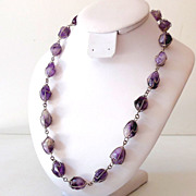 SALE Natural Amethyst Stones Necklace Caged in Silver