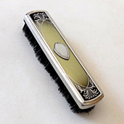 1940s Art Deco Silver & Celluloid Clothes Brush