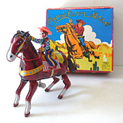 Tin Litho Wind Up Cowboy On Horse In Original Box Mansei
