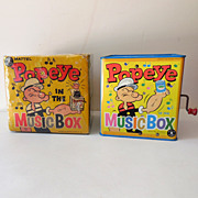 SALE 1950s Tin Popeye Jack in the Box w/ Original box
