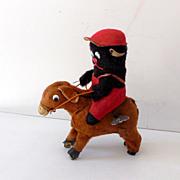 Vintage Key Wind Up Bear Riding Donkey Working
