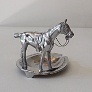 Chromed Metal Race Horse & Lucky Horseshoe Ashtray