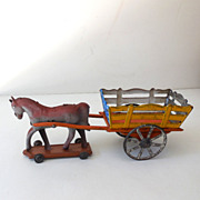 SALE Very Old German Tin Toy Horse and Cart