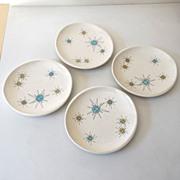 "SOLD (4) Atomic Franciscan Starburst Bread Plates 6"""