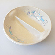 SOLD 1950s Retro Divided Bowl Oasis Pattern Franciscan