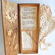SALE Victorian Glove or Hankie Wood Box w/ Contents