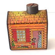 Vintage Log Cabin Syrup Advertising Tin Bank