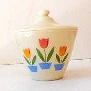 SALE 1950s Fire King Milk Glass Tulips Grease Jar w/ Lid