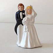 Vintage Bride & Groom Wedding Cake Topper