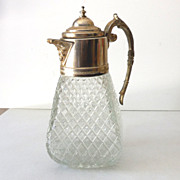 SALE Victorian Silver Plate and Clear Glass Lidded Pitcher Large