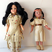 SALE 2 Vintage Native American Indian Plastic Dolls