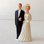 1950s Chalk Wedding Cake Top NOS Bride and Groom
