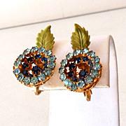 Flashy Vendome Blue Rhinestones & Enamel Earrings