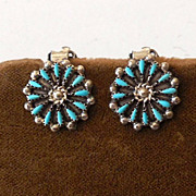 SALE PENDING Vintage Silver and Turquoise Zuni Needlepoint Earrings
