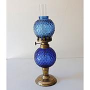 SALE PENDING Small Vintage 1960s-70s  Cobalt Blue Oil Lamp