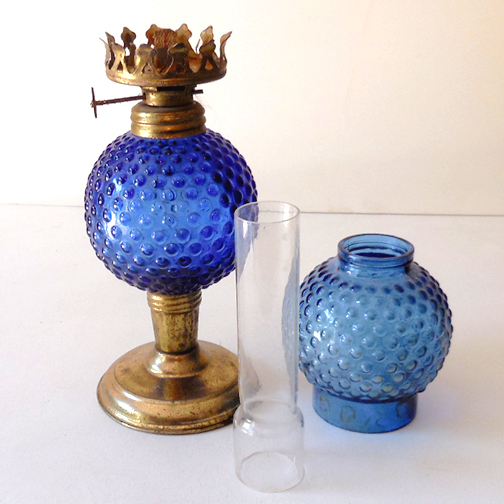 Small Vintage 1960s 70s Cobalt Blue Oil Lamp From