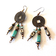 Vintage I Ching Coin Earrings