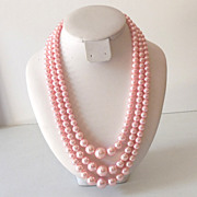Lovely Vintage 3 Strand Faux Pink Pearls Necklace