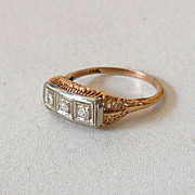 SALE Estate 14k Yellow & White Gold and 3 Diamonds Ring