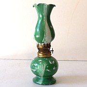 Miniature Oil Lamp Green and White