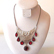 Lovely Silver Mesh Necklace With Dangling Red Stones