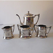 SALE 4 Piece F B Rogers Silverplated Tea Set Dated 1883