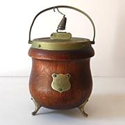 SALE Vintage English Oak Biscuit Jar Hammond Creake & Co