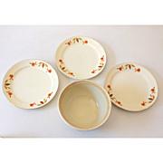 SOLD (3) Plates & 1 Bowl Hall Jewel T Autumn Leaf
