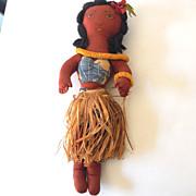 "SALE Vintage 17"" Hand Made Hawaiian Cloth Hula Girl Doll"