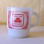 SALE Vintage Anchor Hocking Advertising Mug State Farm Insurance