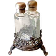 SALE Vintage Footed Metal Perfume Holder With Two Bottles