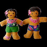 Vintage Pair Hawaiian Plush Dolls