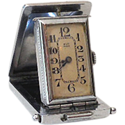 SALE Small Folding Art Deco Travel Pocket Clock Working